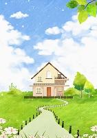 イラスト 緑に囲まれた家