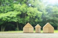 森の中に置かれた積み木の家と光