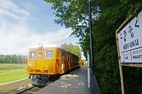 北海道 帯広市 幸福駅の駅名標とディーゼル車