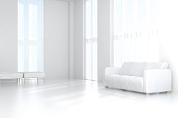 白いソファが置かれたリビングルーム CG