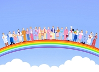 虹と青空といろいろな人々