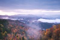 秋田県 朝霧に覆われた太平湖