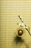 畳の上の茶筅と白梅