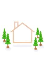 木の家のフレームと樹木