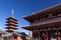 東京都 浅草寺 五重塔と宝蔵門 (仁王門)