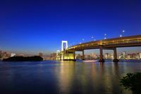東京都 レインボーブリッジと東京タワーの夜景