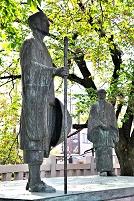 岐阜県 奥の細道むすびの地記念館 芭蕉翁と木因翁像