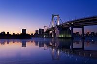 東京都 海に映るレインボーブリッジの夕景