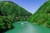 富山県 飛越峡合掌ラインから庄川の新緑
