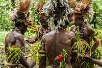 パプアニューギニア トゥフィ 民族衣装を着た人々