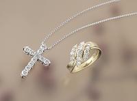ダイヤ十字架ペンダントとK18ダイヤリング