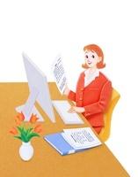 バソコンを操作する女性