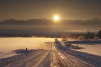 北海道 十勝岳連峰の日の出と朝霧と道