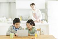 タブレットPCを見る日本人の兄弟
