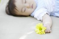 黄色の花を握る日本人の赤ちゃん