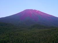 山梨県 滝沢林道 赤く染まる富士山