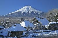 山梨県 かやぶきの家と富士山