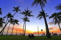 ハワイ ワイキキの夕景