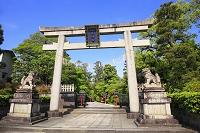 京都府 わら天神 参道と石鳥居