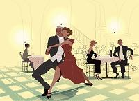 レストランで踊るカップル イラスト