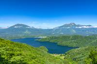 長野県 斑尾山より黒姫山、妙高山、野尻湖