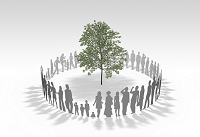 樹木を囲む人の輪
