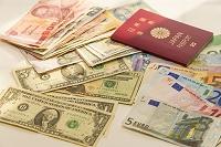 パスポートと世界の通貨紙幣