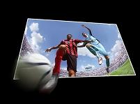 飛び出すサッカーイメージ