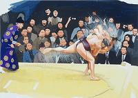 水彩 相撲