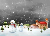 雪だるまと家並み