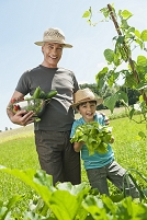 野菜を収穫した祖父と孫