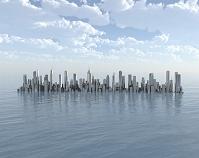 海とビル街