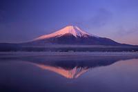 山梨県 山中湖と朝焼けの逆さ富士山