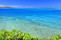 沖縄県 池間大橋とサンゴ礁の海