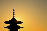 京都府 八坂の塔と夕日