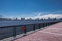 豊洲ぐるり公園とレインボーブリッジ、東京湾岸のビル群