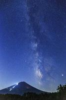 山梨県 天の川かかる富士山