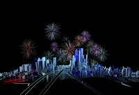 未来都市と花火