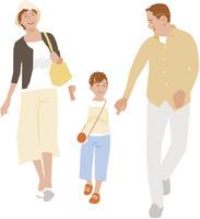 手を繋いで歩く祖父母と女の子