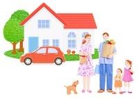 家族と車と一軒家