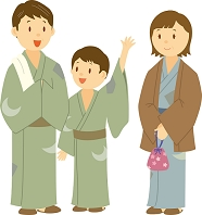 温泉旅館に泊まる両親と子ども