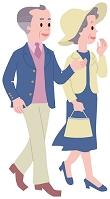 旅先で街歩きをするシニア夫婦