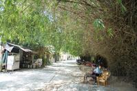 ベトナム フエ ニューイー川沿いの道とカフェ