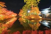 青森県 紅葉の弘前公園の外濠のライトアップ