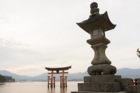 広島県 厳島神社の大鳥居と石灯籠