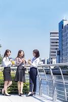 話をする日本人ビジネスウーマン