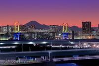 東京都 レインボーブリッジと富士山の夜景