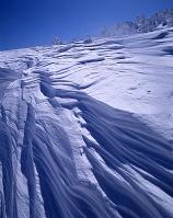 山形県 蔵王温泉 蔵王山頂付近のシュカブラ(風雪紋)と樹氷