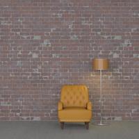 壁際の1人用ソファと照明