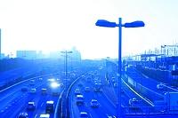 東京都 高速道路 湾岸線 葛西付近 朝